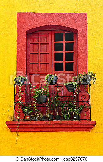Window on Mexican house - csp3257070