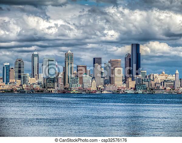 Seattle Cityscape HDR - csp32576176