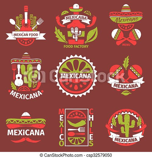 Mexican food grunge rubber vector stamps - csp32579050