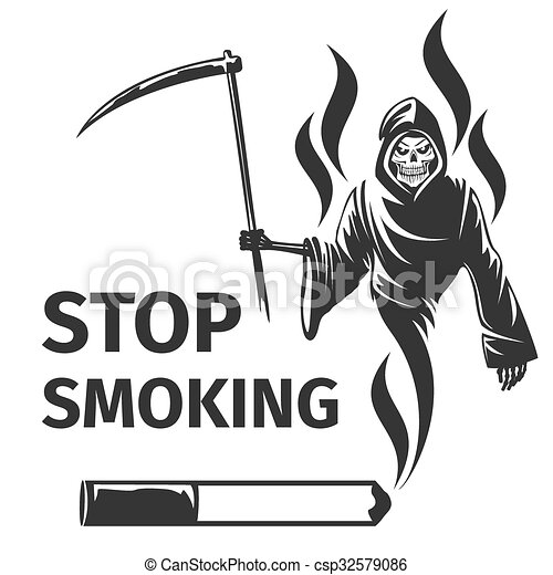 Vector of Stop smoking with death sign vector - Stop smoking with ...