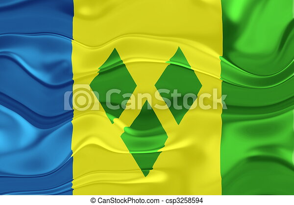 Flag of Saint Vincent and Grenadines wavy - csp3258594