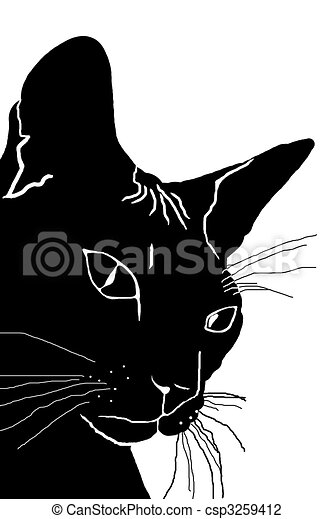 clip art de chat silhouette de t te de a chat a noir csp3259412 recherchez des. Black Bedroom Furniture Sets. Home Design Ideas
