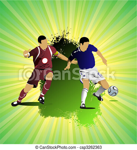 Grunge Soccer banner. Colored Vector illustration for designers - csp3262363