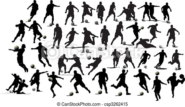 Soccer players. Black and white Vector illustration for designers - csp3262415