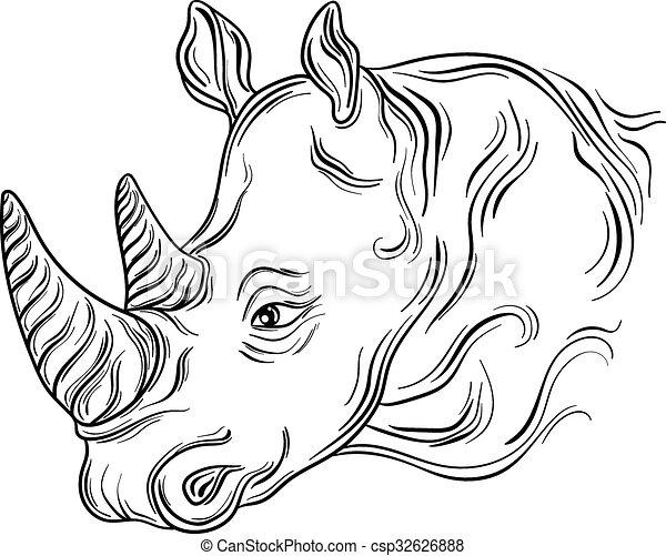 Vecteur de rhinoc ros t te hand dessin illustration - Rhinoceros dessin ...