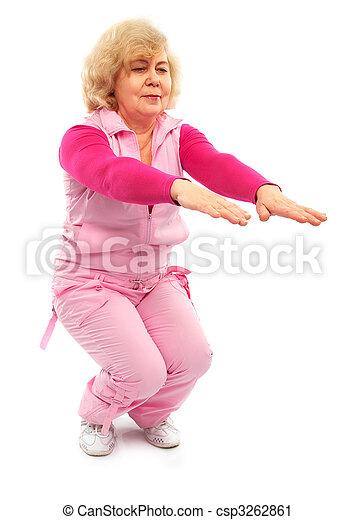 active elderly lady coaching fitness - csp3262861