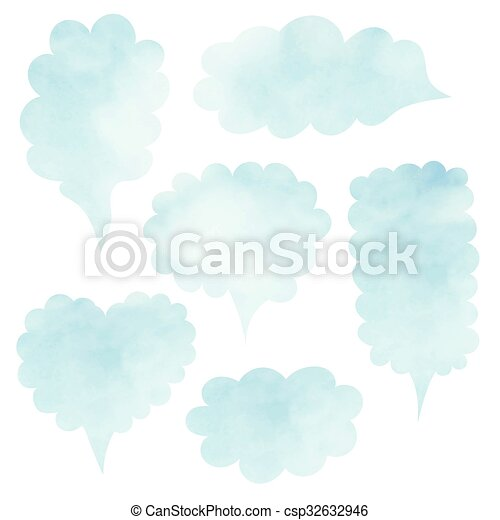 cloud template with lines - eps vector of clouds set blank template quote set