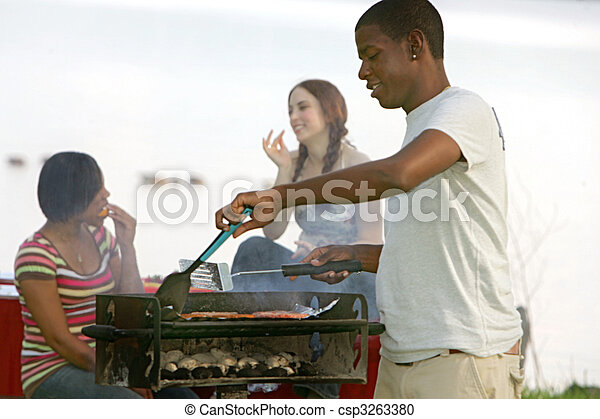 guy cooking bbq - csp3263380