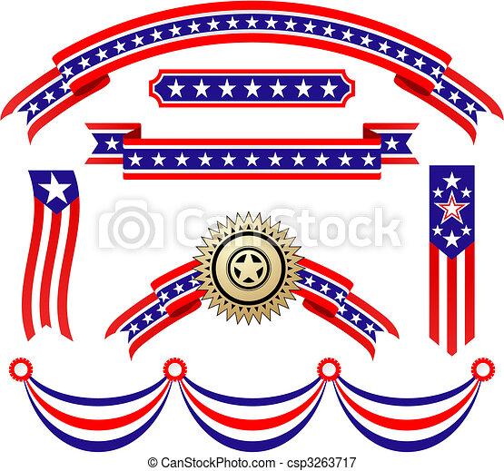 American patriotic ribbons - csp3263717