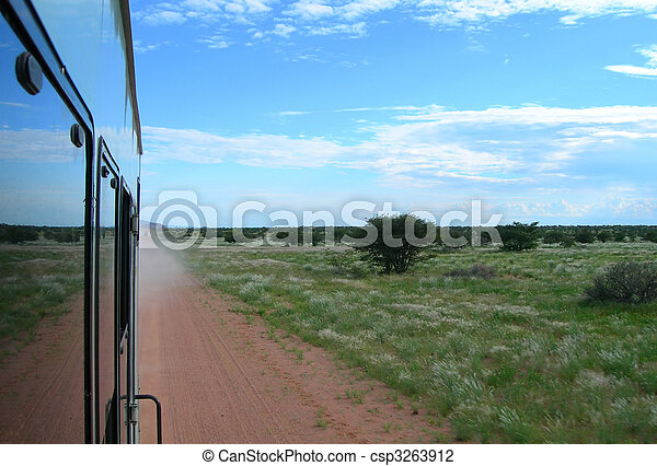 Riding the bus in Namibia, Africa           - csp3263912