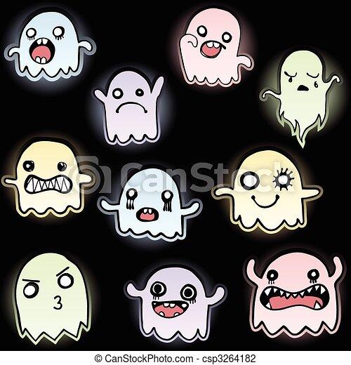 Set of 10 Cute Glowing Ghosts - csp3264182