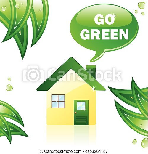 Go Green Glossy House. - csp3264187