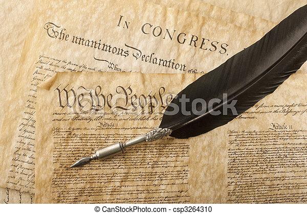Close-up of the U.S. Constitution - csp3264310