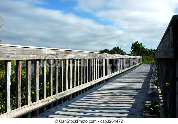 Wooden Boardwalk Bridge Ding Darling Sanibel Florida - csp3264472