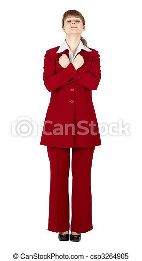 Woman stood still standing on white background - csp3264905