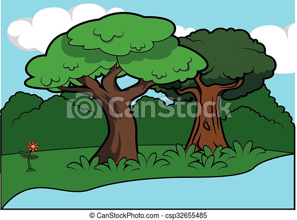Vector of Big tree scenery around forest csp32655485 - Search Clip ...