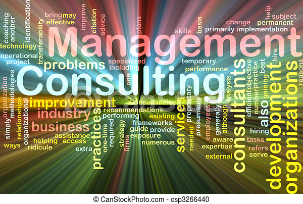 Management consulting word cloud glowing - csp3266440