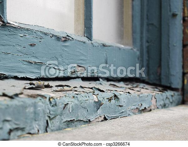 Peeling paint on window sill - csp3266674