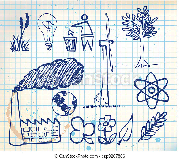 Set of ecology hand-drawn icons - csp3267806
