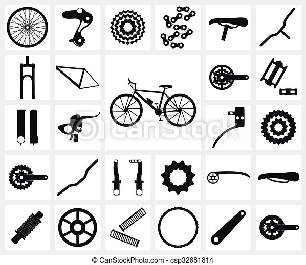 Conjunto, de, negro, silueta, iconos, de, bicicleta, sobrante, partes ...