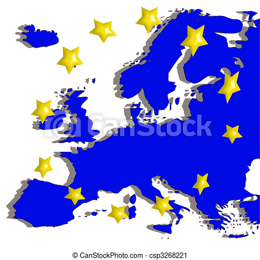 europe map and flag - csp3268221