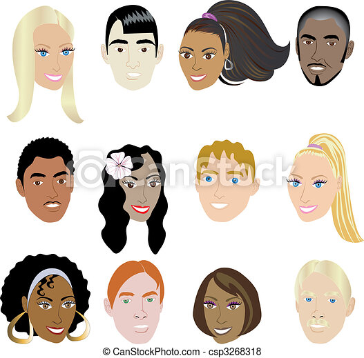 Vector Of People Faces 2 Vector Illustration Set Of 12