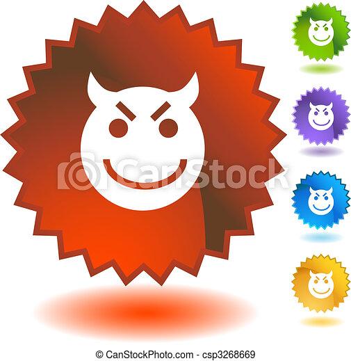 Evil Grin Emoticon - csp3268669