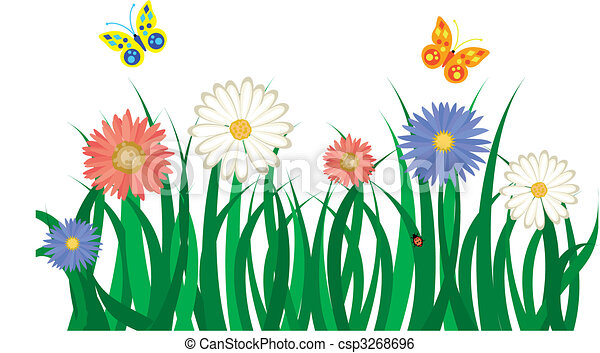 Flowers in Grass Drawing Floral Background With Grass