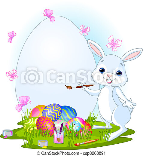 Easter Bunny painting Easter Eggs - csp3268891