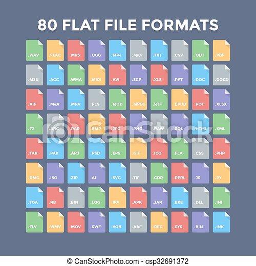 formaten, bestand, iconen - csp32691372