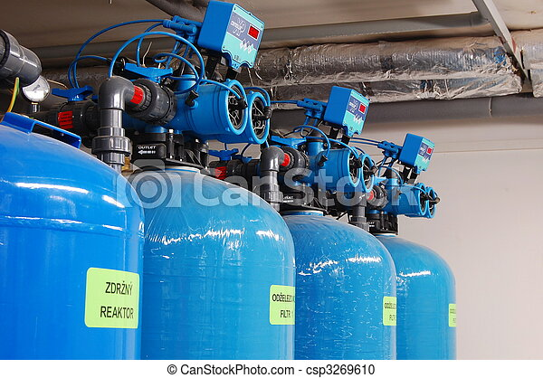 Water filters to remove iron, together with tanks - csp3269610