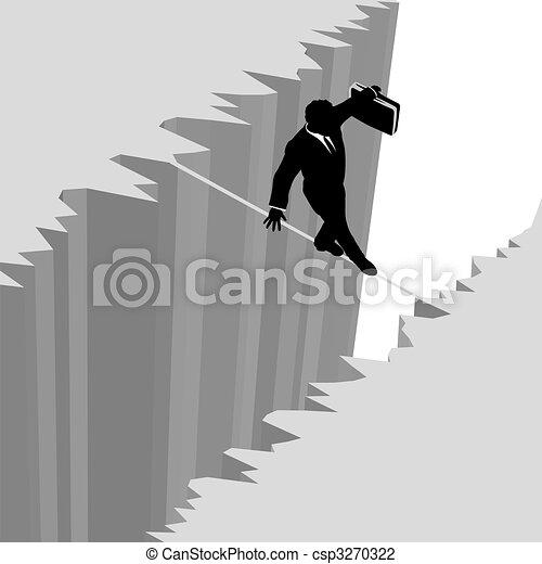 Business man walks risk tightrope over cliff drop danger - csp3270322