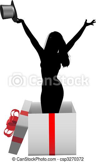 Glamour girl model happy celebration gift box - csp3270372