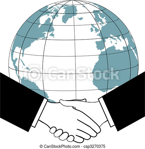 Global business trade nations agreement handshake icon - csp3270375