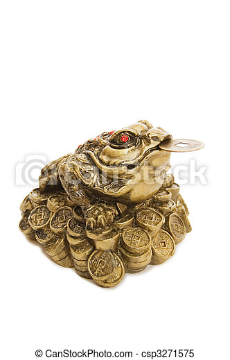 Chinese Feng Shui Frog with coins - csp3271575