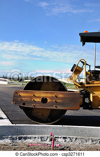 Steamroller at Road Construction Site - csp3271611