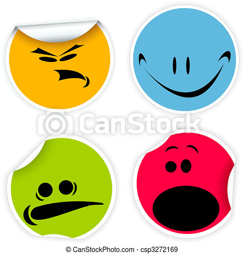 Labels with various smiles - csp3272169