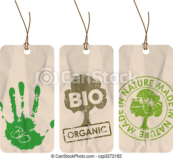 grunge tags for organic / bio / eco - csp3272182