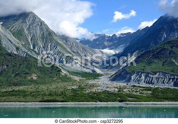 montanhas, glacial, vale, geleira, baía, Alasca - csp3272295