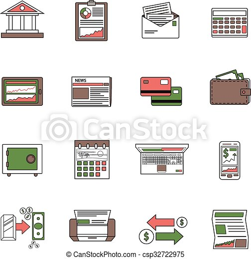 Bank Icons Outline - csp32722975