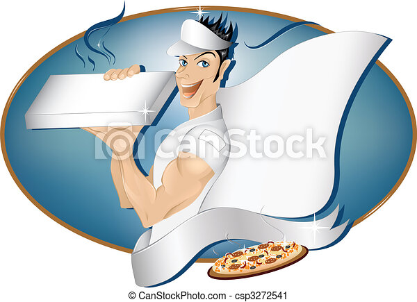 Pizza delivery boy with copy space - csp3272541