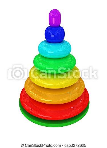 Toy pyramid over white background - csp3272625