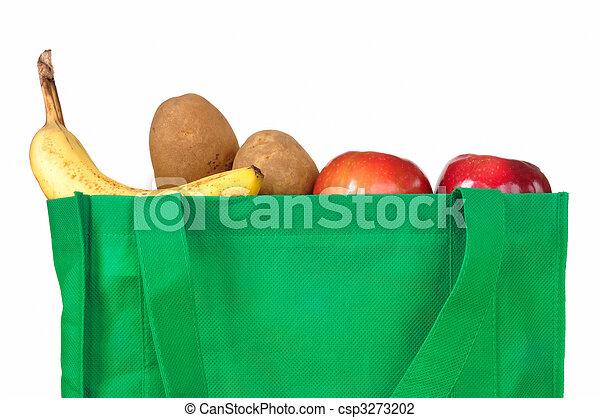 Groceries in Reusable Green Bag - csp3273202