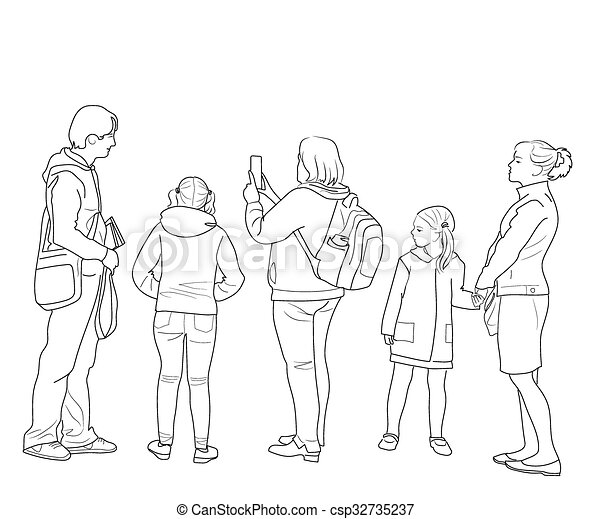 how to draw people simple standing