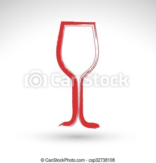 clipart vecteur de gobelet tulipe simple verre vin isol main verre csp32738108. Black Bedroom Furniture Sets. Home Design Ideas
