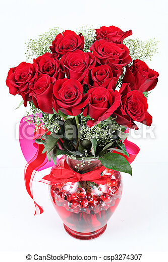 Vase of red roses for Valentines Day - csp3274307