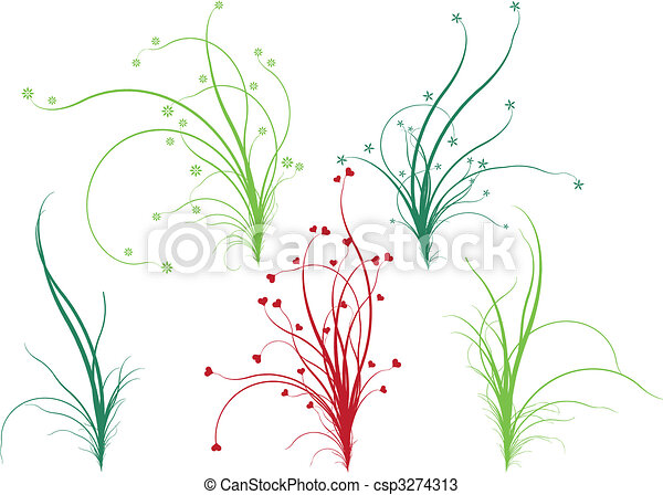 Floral grass, vector - csp3274313