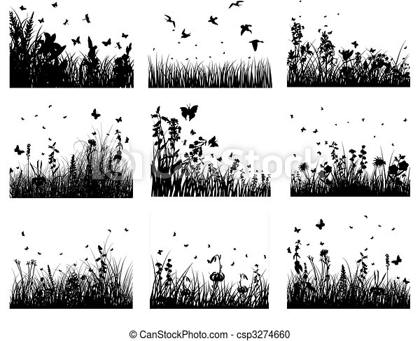 meadow silhouettes - csp3274660