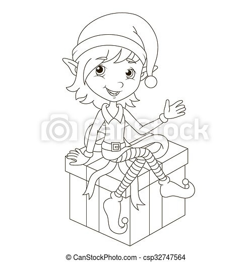 Clip Art Vector of Cute Christmas elf sitting on gift. Vector coloring ...