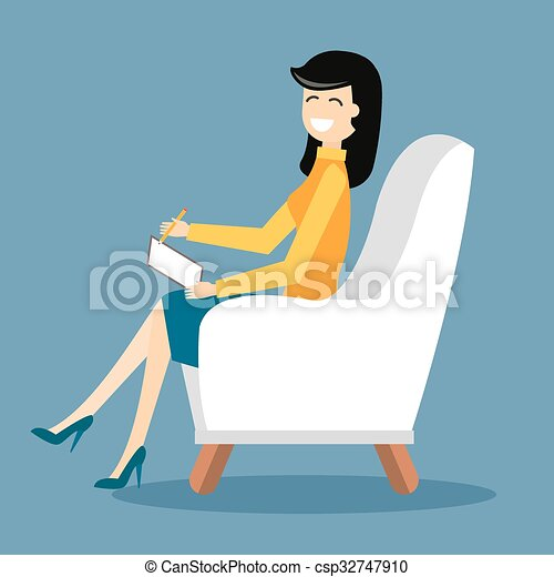 Psychologist office cabinet room vector illustration - csp32747910